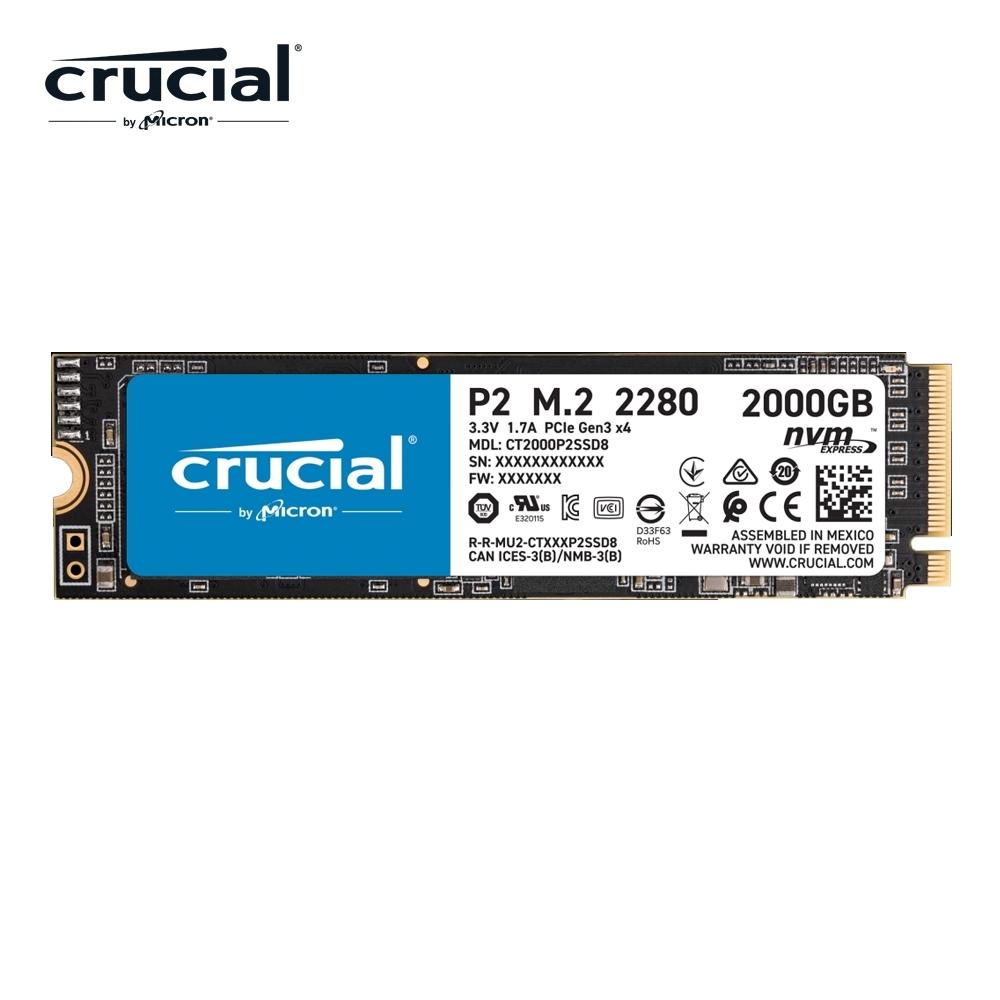 美光 Micron Crucial P2 2TB PCIe M.2 QLC SSD固態硬碟