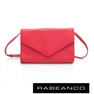 RABEANCO 迷時尚系列牛皮兩用信封包 桃紅