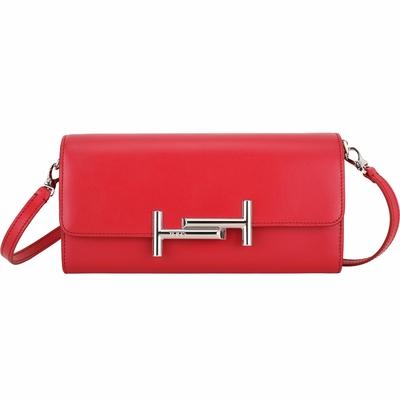 TOD'S Double T 金屬設計波紋牛皮長夾式斜背包(紅色)