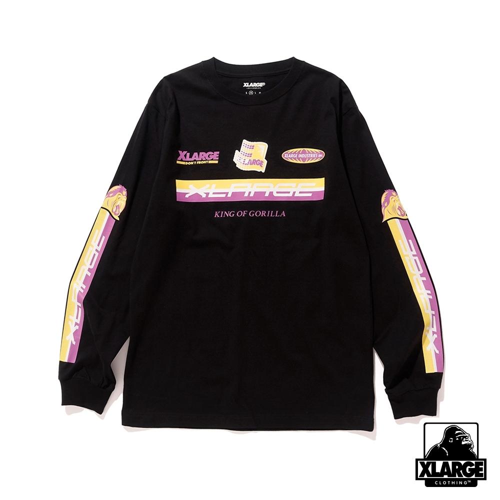 XLARGE L/S TEE RACING P.O.D長袖T恤-黑