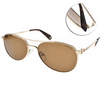 Polaroid 偏光太陽眼鏡 乘風造型款/金-棕 #PLD6070SX J5GSP