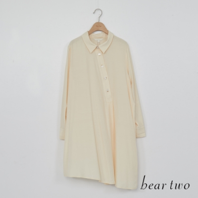 beartwo-斜釦寬鬆長版襯衫-米白