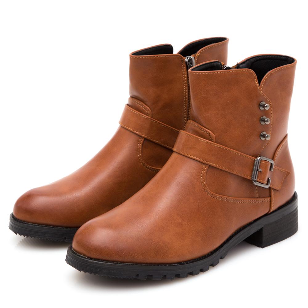 JMS-英式潮流鉚釘搭扣工程短靴-棕色
