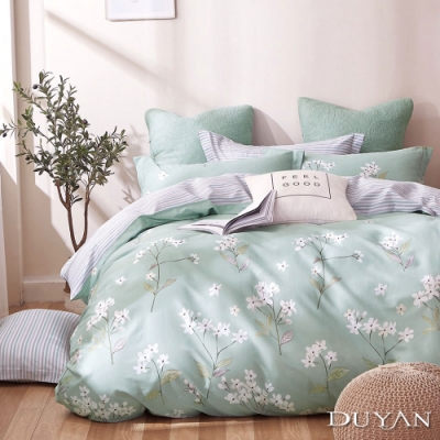 DUYAN竹漾-100%精梳純棉-雙人床包三件組-桐雪漫舞 台灣製