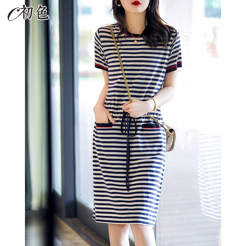 初色  收腰繫帶條紋洋裝-條紋-(M-2XL可選)