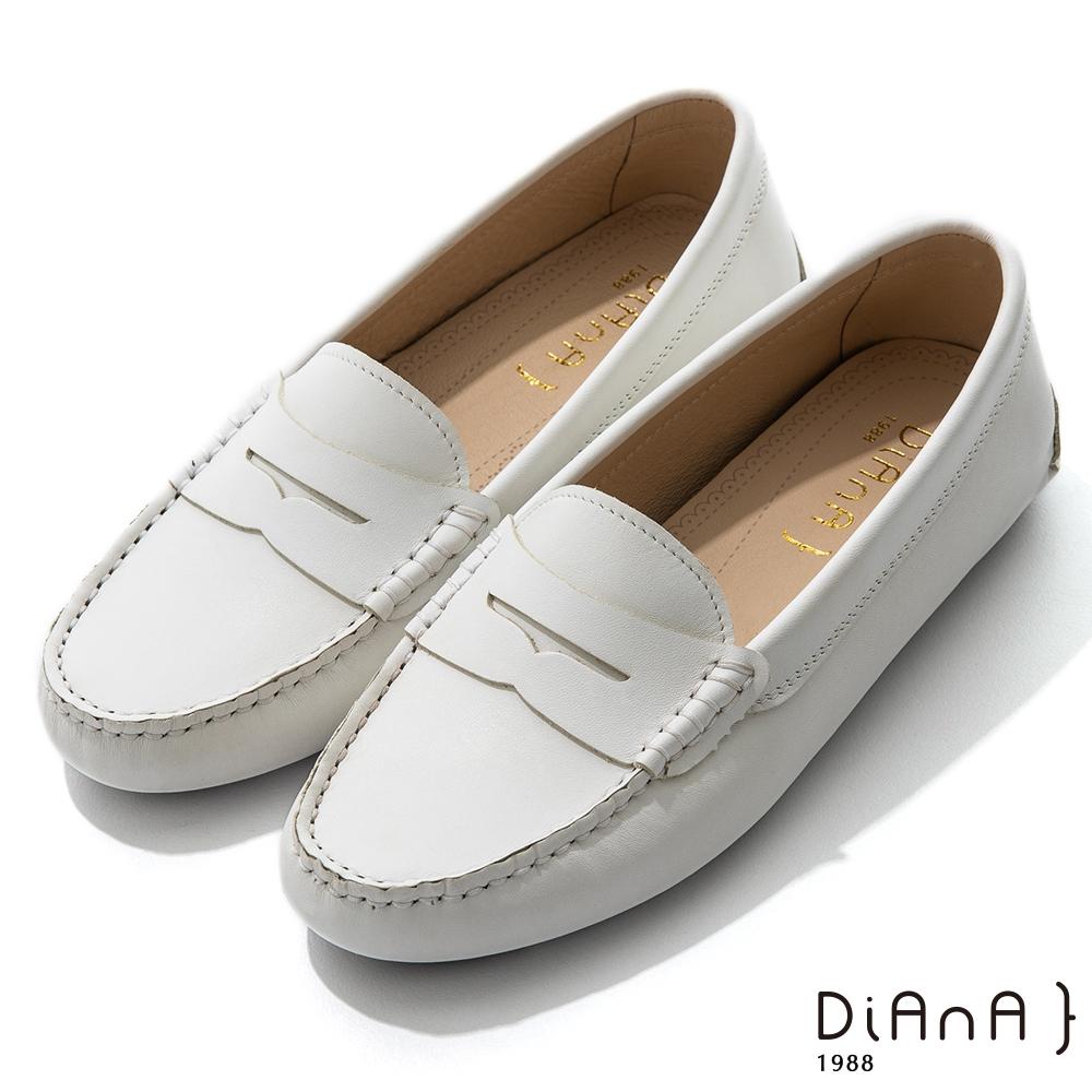 DIANA 0.5cm 質感牛皮簡約便士莫卡辛樂福平底休閒鞋-漫步雲端焦糖美人-白