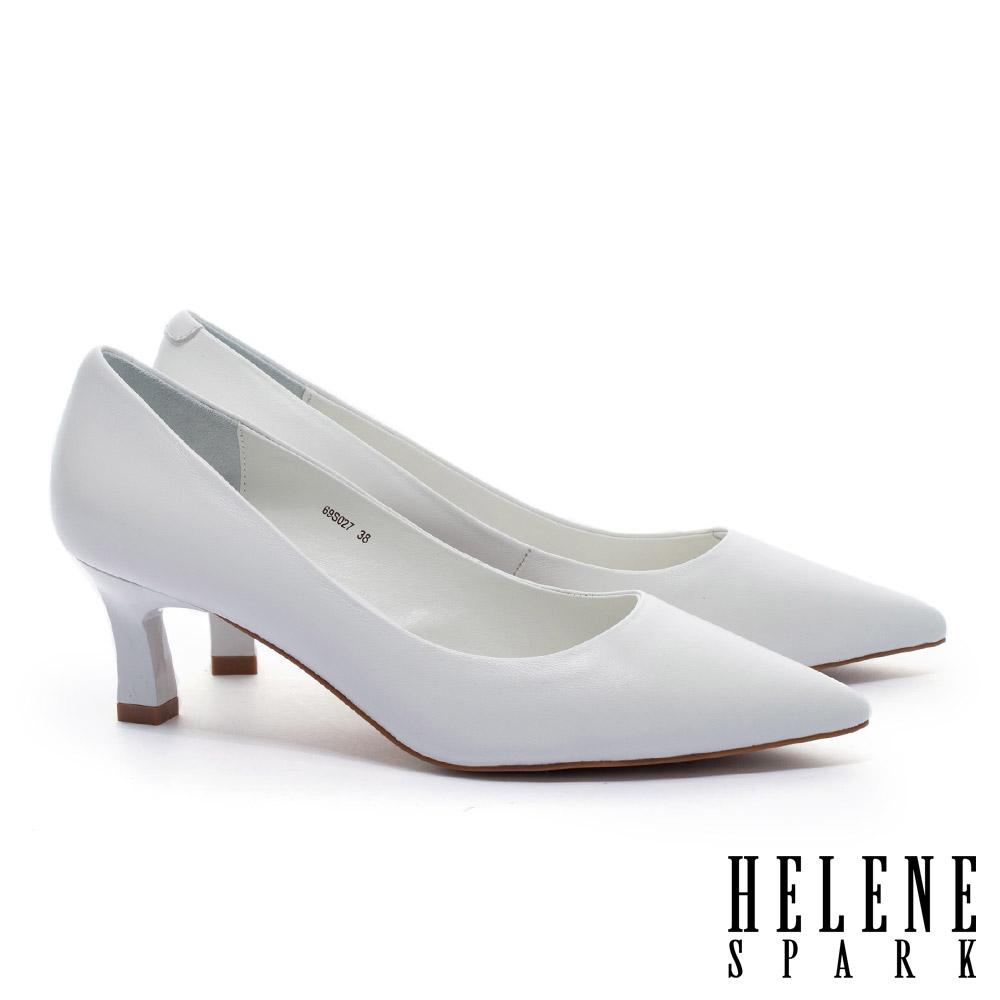 高跟鞋 HELENE SPARK 法式極簡雅緻純色羊皮尖頭高跟鞋-白