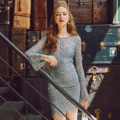 AIR SPACE 曲線修身滿版蕾絲短洋裝(藍灰)