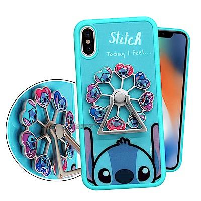 迪士尼正版授權 iPhone X 摩天輪指環扣防滑支架手機殼(史迪奇)