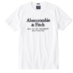 A&F 麋鹿 印刷文字 Abercrombie & Fitch 男款短T(白色-L)