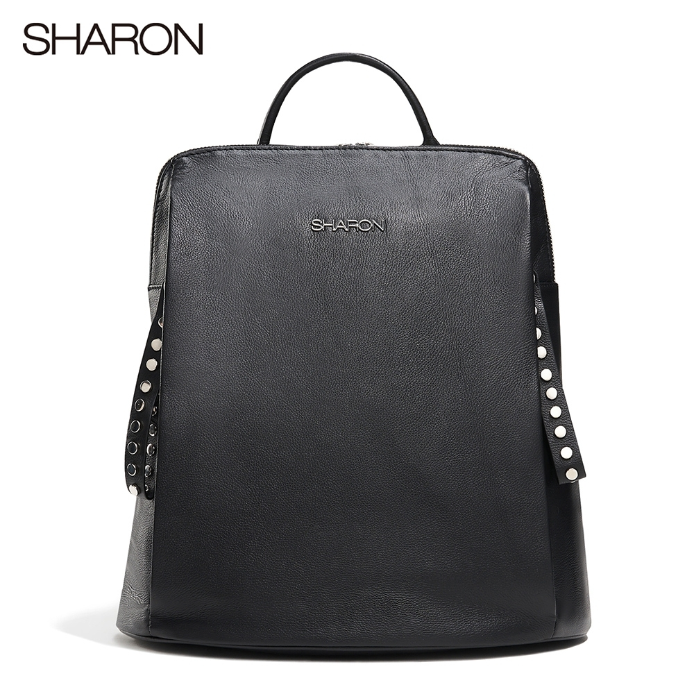 【SHARON 雪恩】頭層牛皮Joy雙鉚釘拉鍊後背包(黑色31019BK)