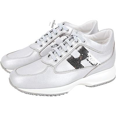 HOGAN Interactive H 亮片飾皮革繫帶休閒鞋(銀灰色)