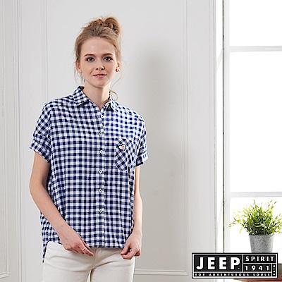 JEEP 女裝 簡約休閒格紋短袖襯衫-藍色