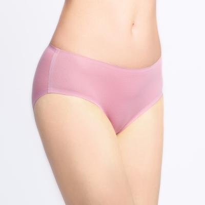 黛安芬-無痕內褲系列 高科技黏合中腰平口內褲 M-EL 粉藕色