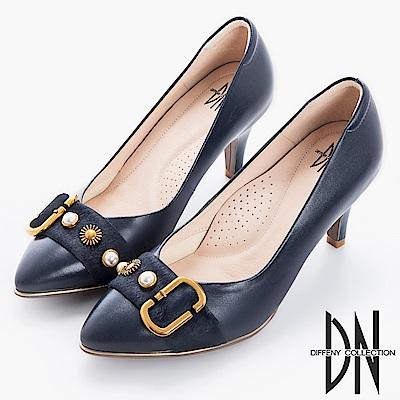DN 時尚風範 MIT馬毛飾釦尖頭跟鞋-藍