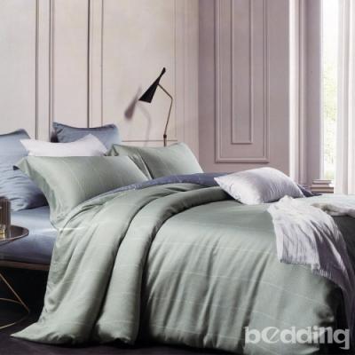 BEDDING-60支100%天絲-雙人薄床包鋪棉兩用被套四件組-萊卡-淺綠