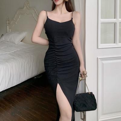魅力黑色性感抓皺開衩吊帶洋裝-F-Sexy Devil