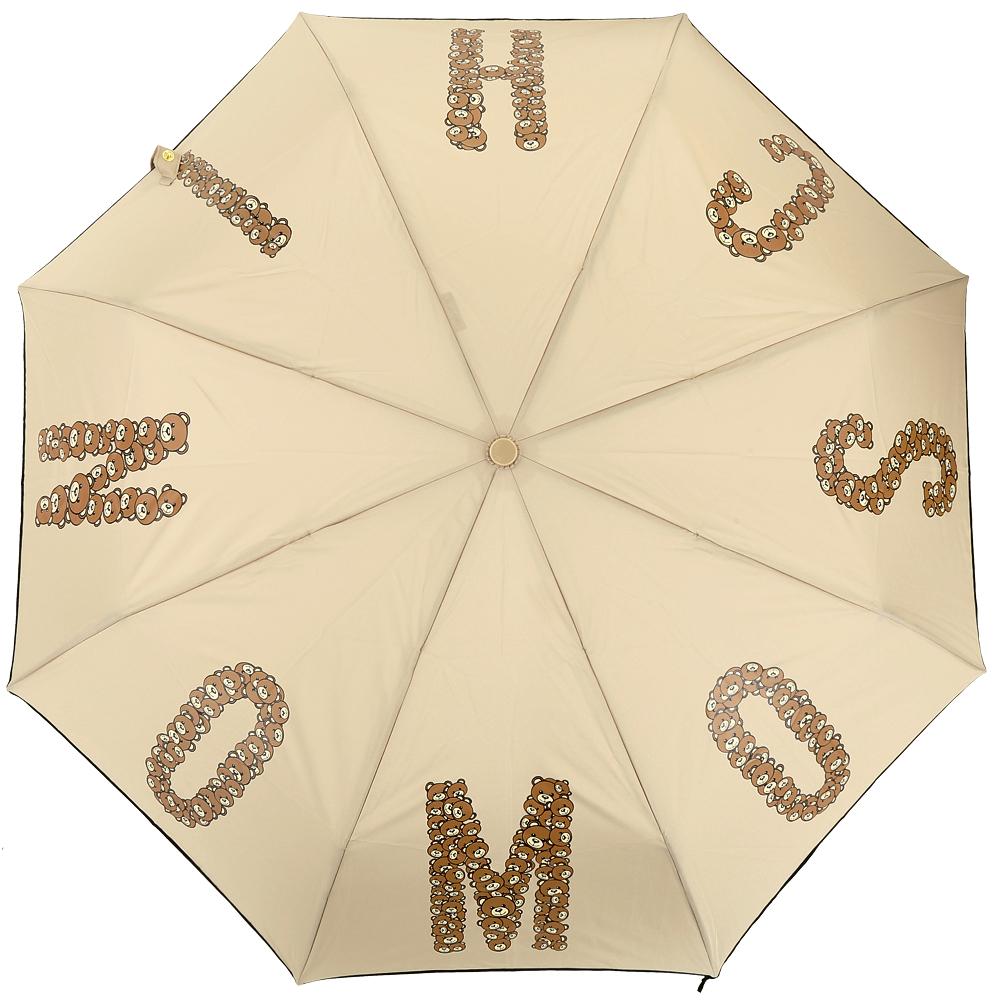 MOSCHINO 字母泰迪熊自動摺疊晴雨傘(卡其色)