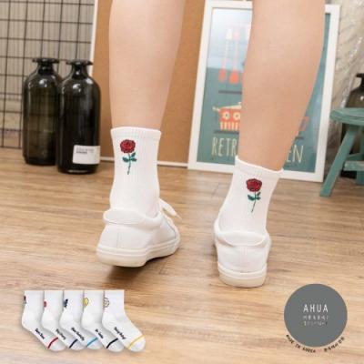阿華有事嗎  韓國襪子 白底後跟圖案中筒襪 K0909 韓妞必備 正韓百搭純棉襪