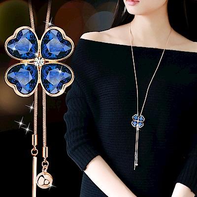 梨花HANA 百搭水晶四葉草水晶珍珠長項鍊