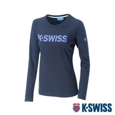 K-SWISS Cotton Logo Tee 2印花長袖T恤-女-藍