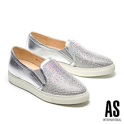 休閒鞋 AS 經典異材質拼接漸層排鑽厚底休閒鞋-銀