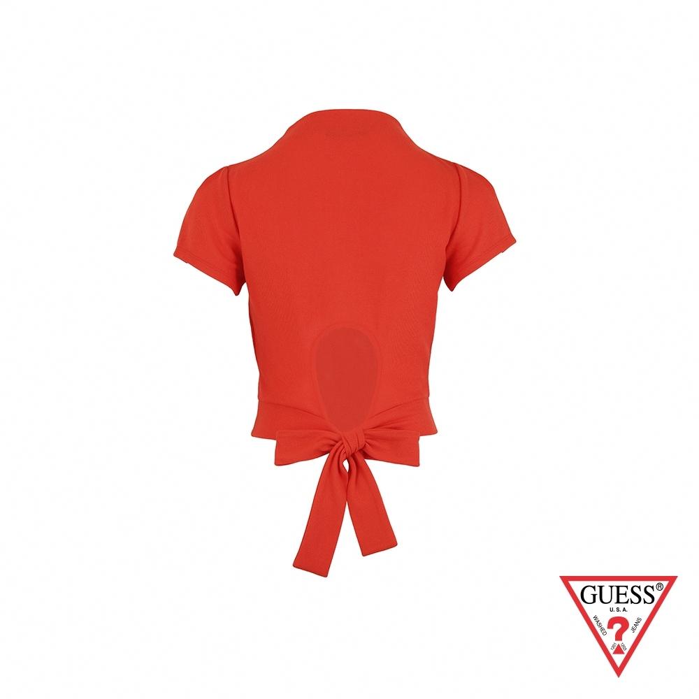 GUESS-女裝-性感素面後綁帶短版上衣-橘紅 原價1290