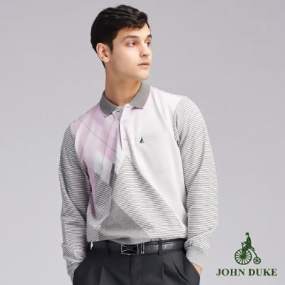 JOHN DUKEM約翰公爵 品味交錯菱格紋POLO衫_粉紅/灰(99-9V6150)