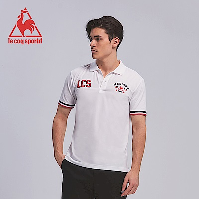 le coq sportif 法國公雞牌吸濕排汗立體繡花短袖POLO衫 男-白