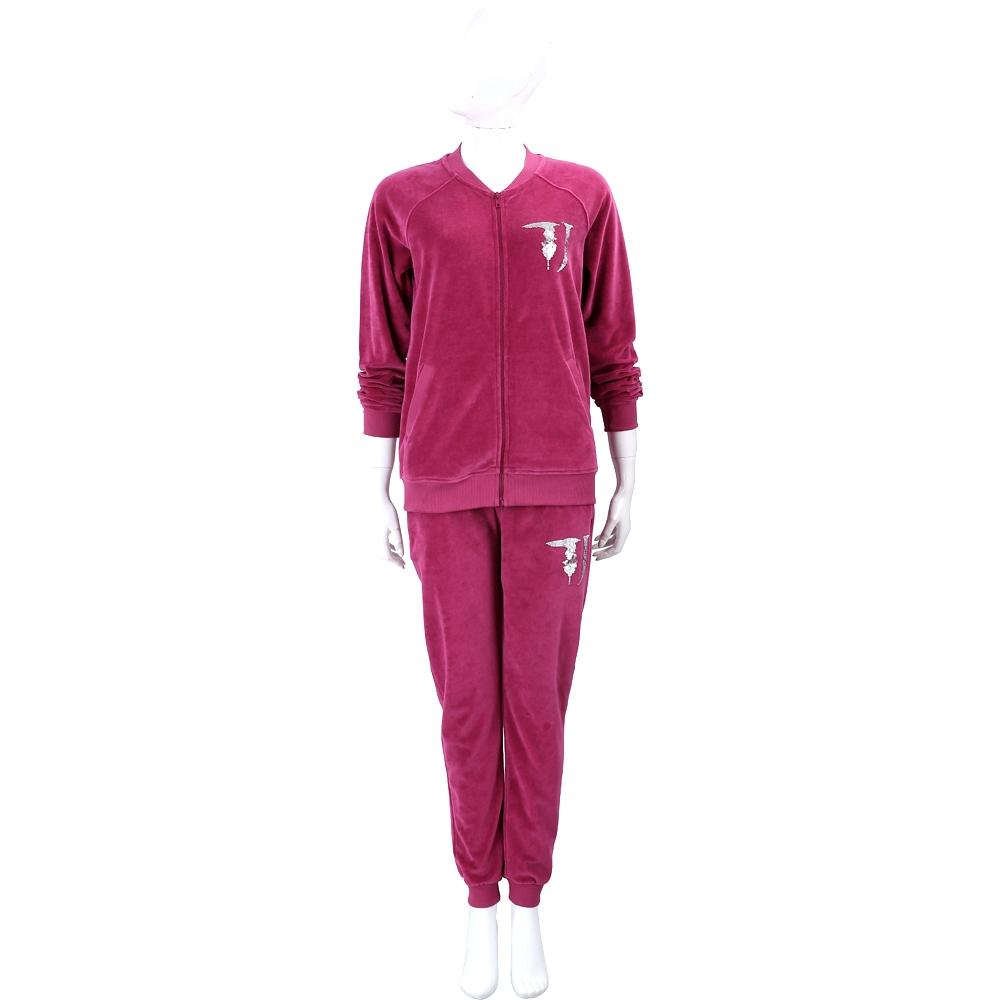 TRUSSARDI TJ 亮片桃紫色法蘭絨休閒套裝