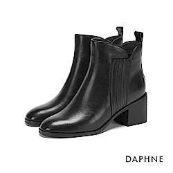 達芙妮DAPHNE 短靴-牛皮拼接幾何條紋彈力粗跟短靴-黑