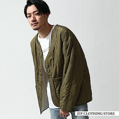 絎縫仿羊絨無領雙面開襟外套(2色) ZIP日本男裝