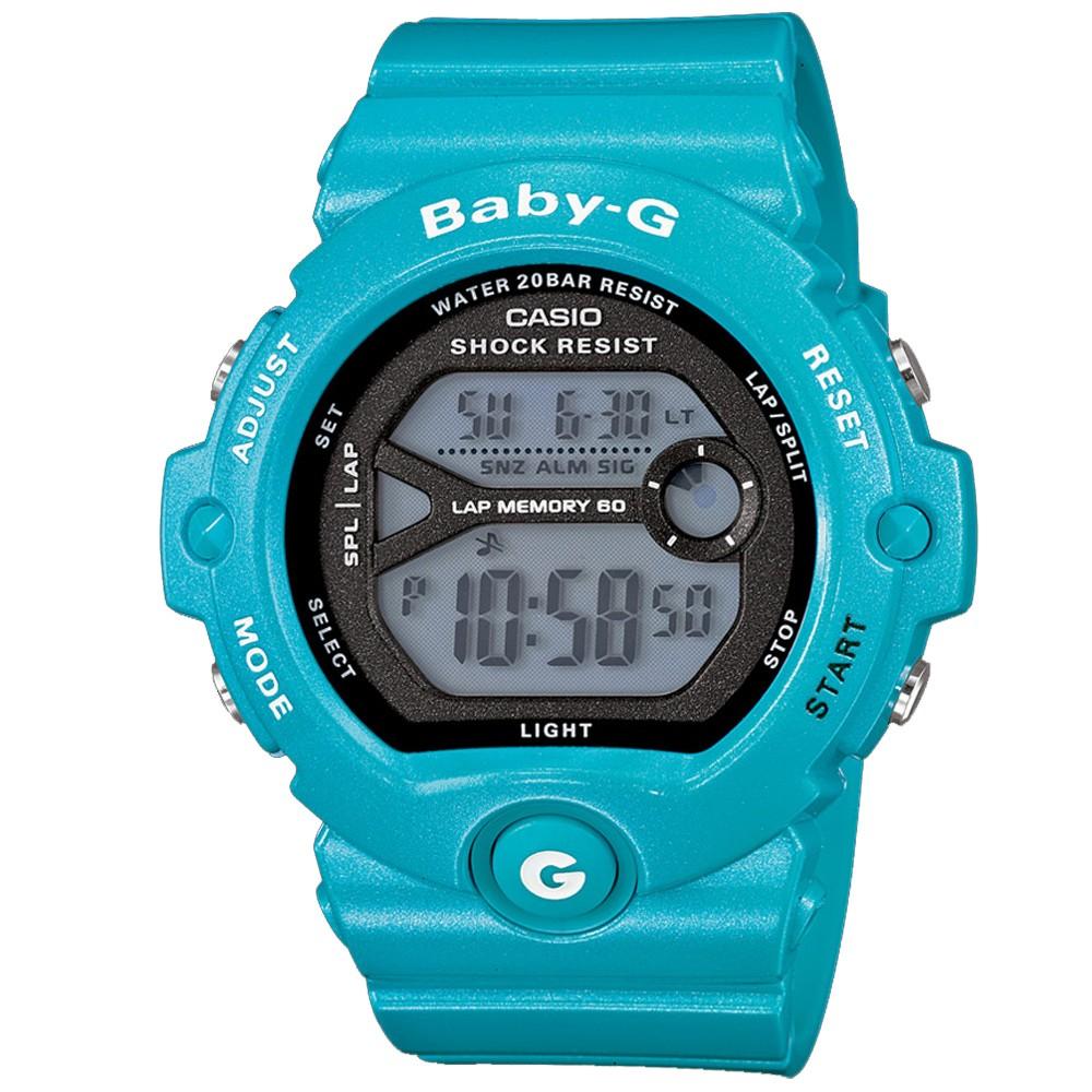 BABY-G 馬錶記憶熱血女孩慢跑運動錶(BG-6903-2)-土耳其藍/45mm