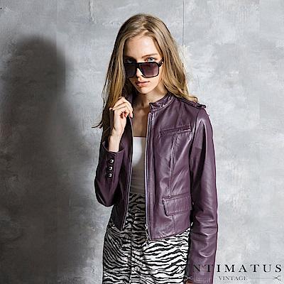 INTIMATUS 真皮 歐美立領短版小羊皮衣 神秘紫