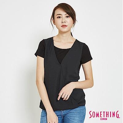 SOMETHING 優雅雪紡拼接 短袖T恤-女-黑色