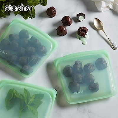 美國Stasher 白金矽膠密封袋-方形(薄荷綠)