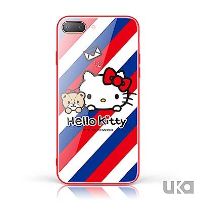 三麗鷗 HelloKitty iPhone 7+/8+ 9H鋼化玻璃彩繪背蓋 - 郵差凱蒂 @ Y!購物