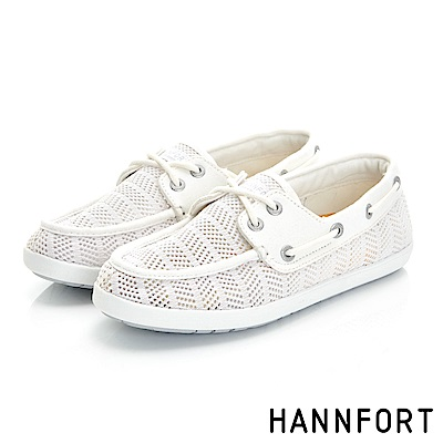 HANNFORT CALIFORNIA抽繩帆船鞋-女-橡木白