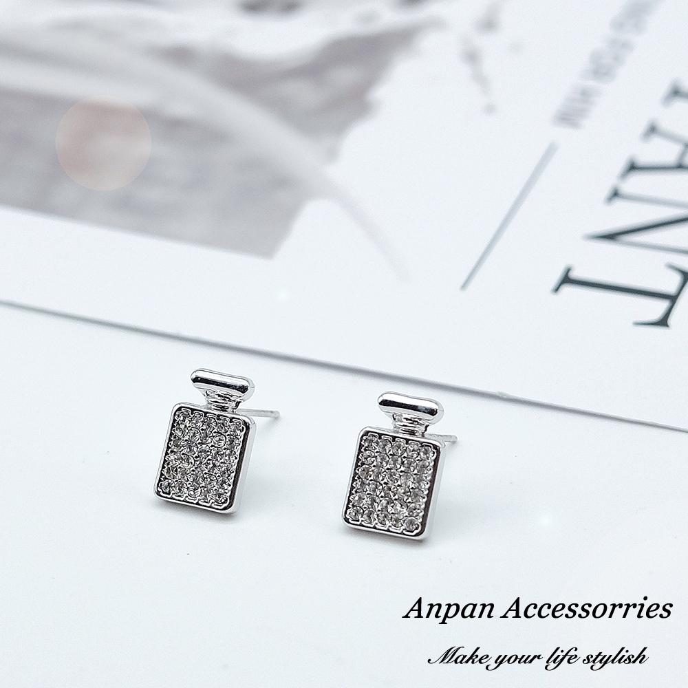 【ANPAN愛扮】韓東大門香奈兒鑽石瓶925銀耳針式耳環