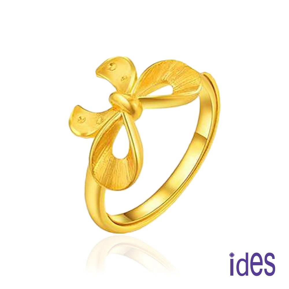 ides愛蒂思 時尚輕珠寶鍍黃K金戒指/蝴蝶結