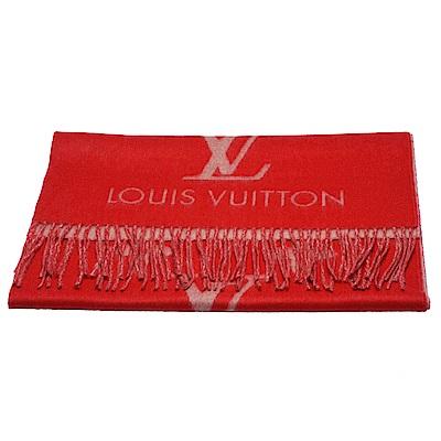 LV M70813 經典Reykjavik系列 Monogram織花羊絨雙面針織圍巾(紅)