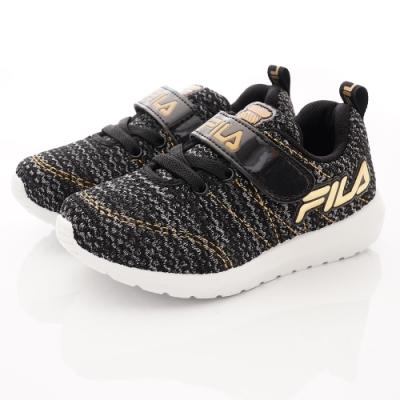 FILA頂級童鞋 針織休閒款 FO24U-009黑金(中大童段)