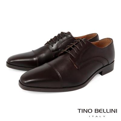 TINO BELLINI 男款 歐洲進口牛皮橫飾繫帶德比紳士鞋-咖啡