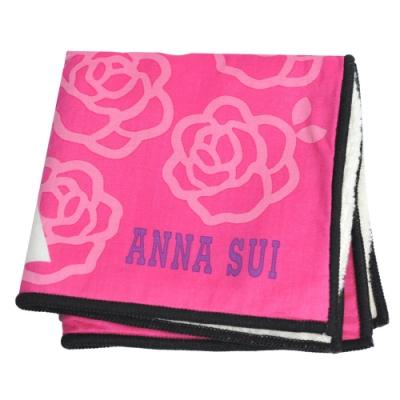 ANNA SUI SWINGING TOKYO系列圖騰字母LOGO小方巾(桃紅)