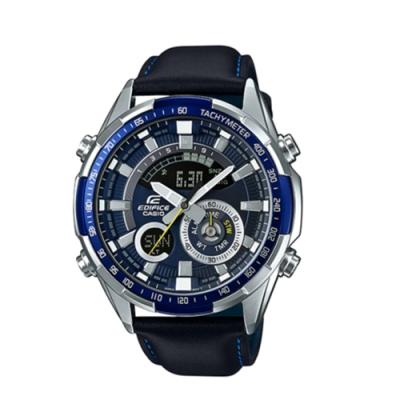 CASIO卡西歐 立體金屬時刻雙顯皮革男腕錶(ERA-600L-2A)-藍x47mm