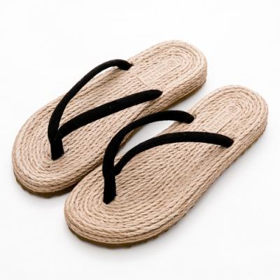 River&Moon拖鞋 自然簡單人字夾腳平底涼拖鞋 黑