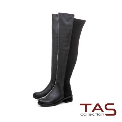 TAS 前高後低牛皮拼接粗跟膝上靴-迷人黑