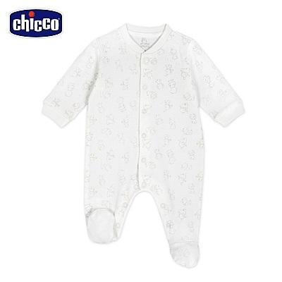 chicco-粉彩系列-印花前開兔裝-咖(3-12個月)