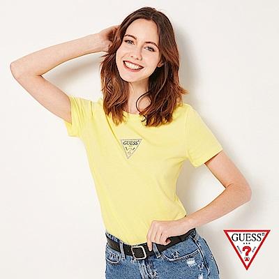 GUESS-女裝-閃耀水鑽小LOGO短T,T恤-黃 原價1290