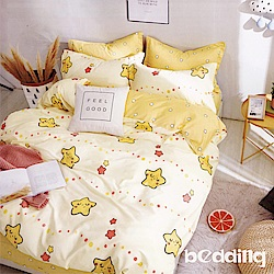 BEDDING-100%棉3.5尺單人薄式床包二件組-那片星空-黃